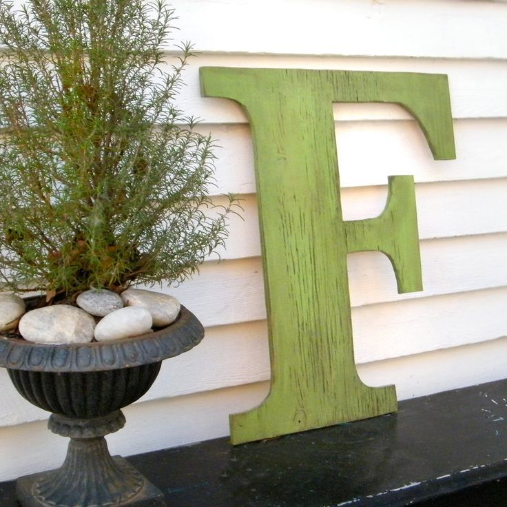 Distressed Large Letter F Swamp Green Ready to Ship 24 inch Extra Large Wooden Letter Shabby Chic