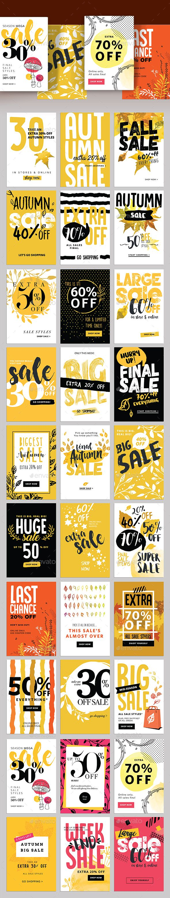 Autumn Social Media Sale Banners Template PSD, Vector EPS, AI Illustrator More