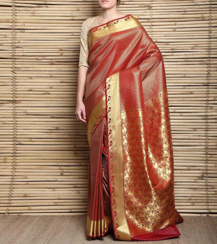 Red #Kanjivaram #SilkSaree #Indianroots #flipkart