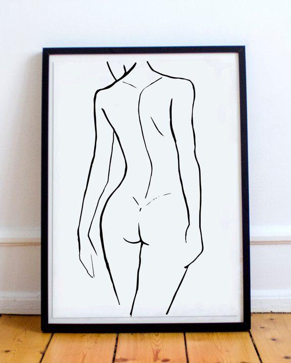 Abstract Figure Drawing. Original Art. Minimal Line Illustration. Line Contour. Figurative Art. Black and White Nude Figure. Line Art Print – Alexandra Pohl-Möller