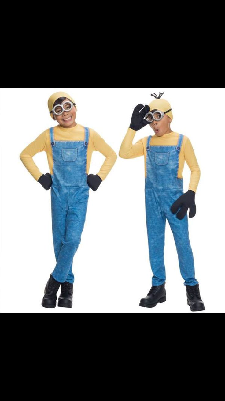 our kids minion costume includes a jumpsuit gloves headpiece and minion goggles choose from our minion kevin costume or our minion bob costume