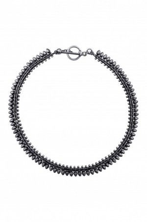 Silver plated oxidised tribal necklace
