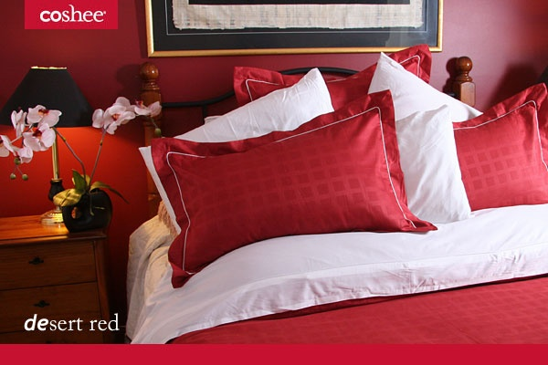 Desert Red is bold and beautiful and makes for a striking change in your bedroom. Each duvet set has a white clip on top sheet as shown. No more tangled sheets and less washing.