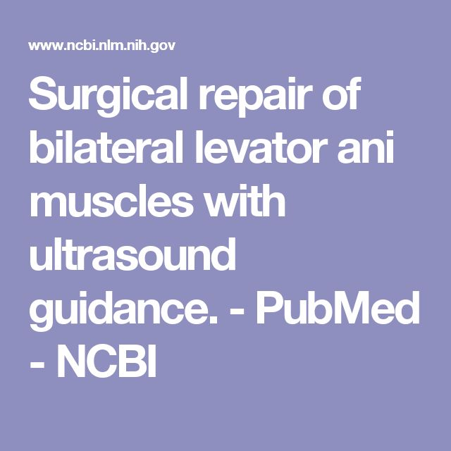 Surgical repair of bilateral levator ani muscles with ultrasound guidance.  - PubMed - NCBI