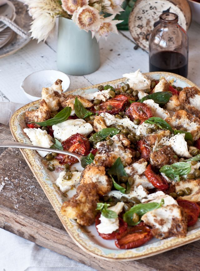 Roasted Chicken Panzanella with capers