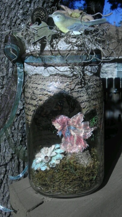 Almost done with My 1st captured fairy in a jar.