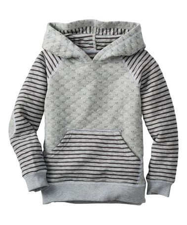 Another great find on #zulily! Heather Gray Stripe Quilted Hoodie - Infant, Toddler & Girls #zulilyfinds