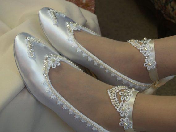 Bridal Victorian Flats White Shoes Fine US Lace by NewBrideCo ☆