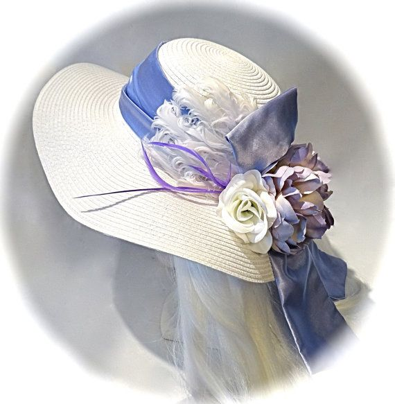 Lavender & White Derby Hat Summer Hats Mother of by Marcellefinery