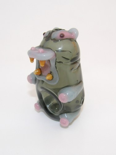 Hungry Hippo Pipe - Grey and Pink Hippopotamus Glass pipe
