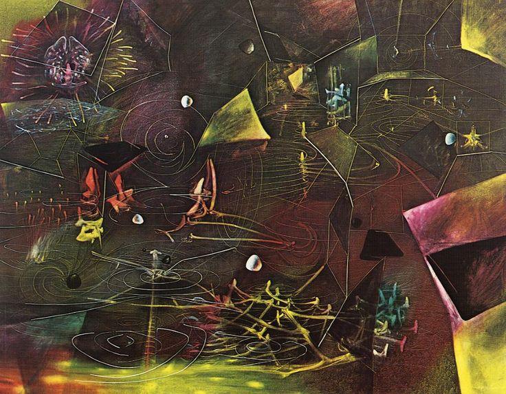 El vértigo de Eros, es una de sus obras de gran dimensiòn, miendo 195,6 x 251,5 cm. Pintada por Roberto Matta en 1944, se encuentra en el Museo de Arte Moderno MoMA de Nueva York, Estados Unidos.