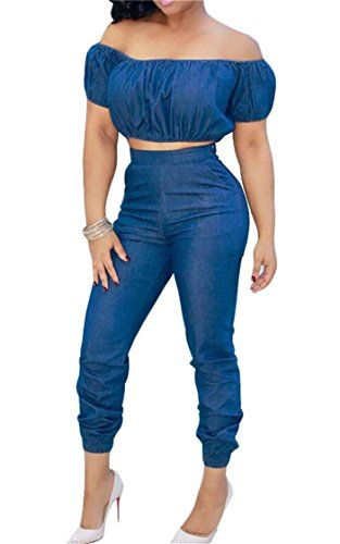 205b342824 MLG Womens 2 Pieces Denim Shoulder Off Crop Tops with Sweatsuit Outfit Set