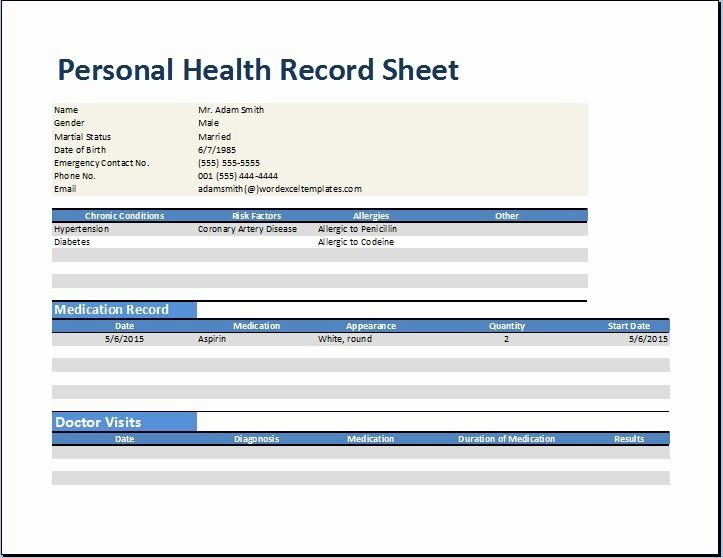 Personal Wellness Plan Template Lovely Personal Medical Health Record Worksheet Template Medical Records Family Medical Personal Health