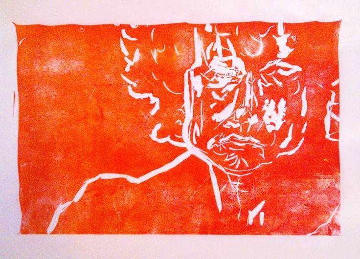 "Saatchi Art Artist: Gavin Garcia; Linocuts Printmaking ""Bob Dylan - Lino Print"""