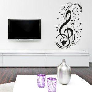 Adesiviamo Chiave di violino Sticker mural une pièce en forme de clé de sol, en vinyle, décoration design pour les murs et les parois