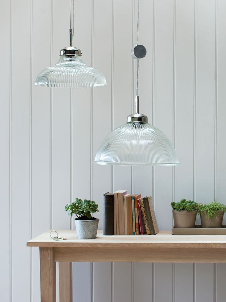 Our elegant pendant light features a strong glass shade, subtly fluted to leave pretty patterns across the ceiling when in use. Adjustable in height, this glass light looks fabulous over the dining table or softly lit in the living room. Click here to view our useful lighting guide.