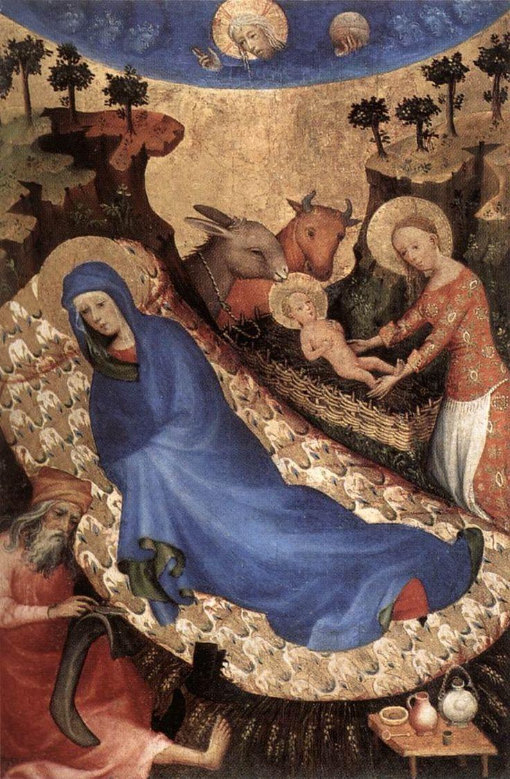 """Anonymous: The Birth of Christ. Uno de los elementos apócrifos más populares es el buey y la mula: #el tercer día después del nacimiento del Señor, María salio de la gruta, y entro en el establo, y deposito al niño en el pesebre, y el buey y el asno lo adoraron. Entonces se cumplió lo que había anunciado el profeta Isaías: """"El buey ha conocido a su dueño y el asno el pesebre de su señor""""# (Evangelio del pseudo Mateo, XIV). En este cuadro, los animales calientan al Niño con su aliento."""