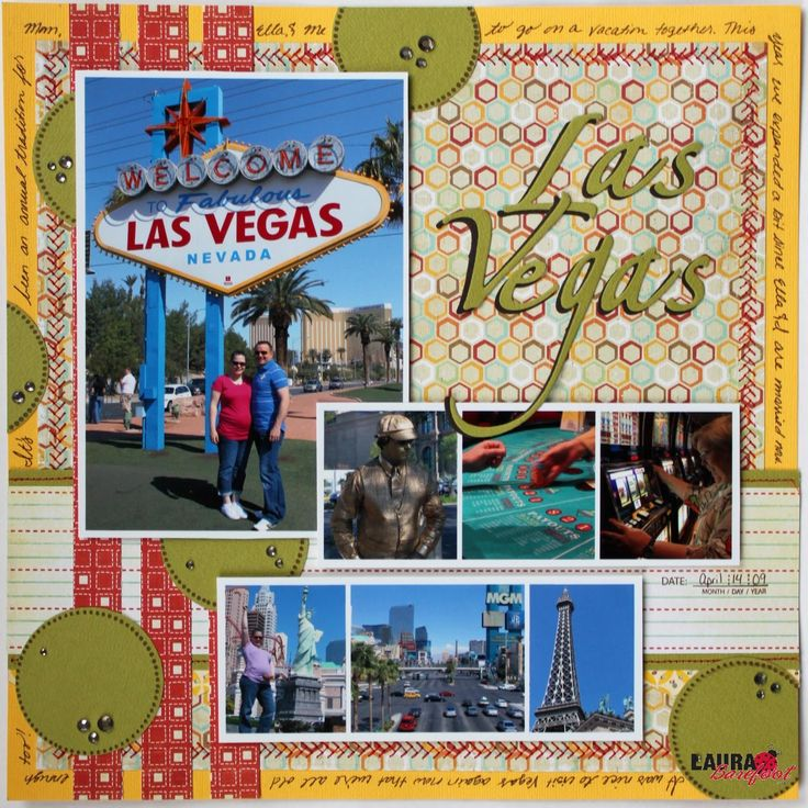 Las Vegas scrapbook page layouts | cardstock american crafts bazzill