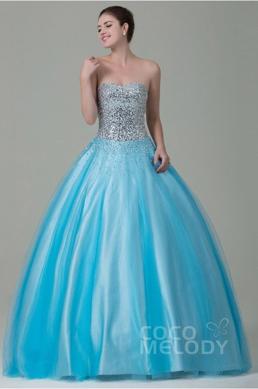 Ball Gown Sweetheart floor length Tulle Blue Lace-Up Corset Quinceanera Dress CLASSIC AND TIMELESS WEDDING DRESSES FROM COCOMELODY