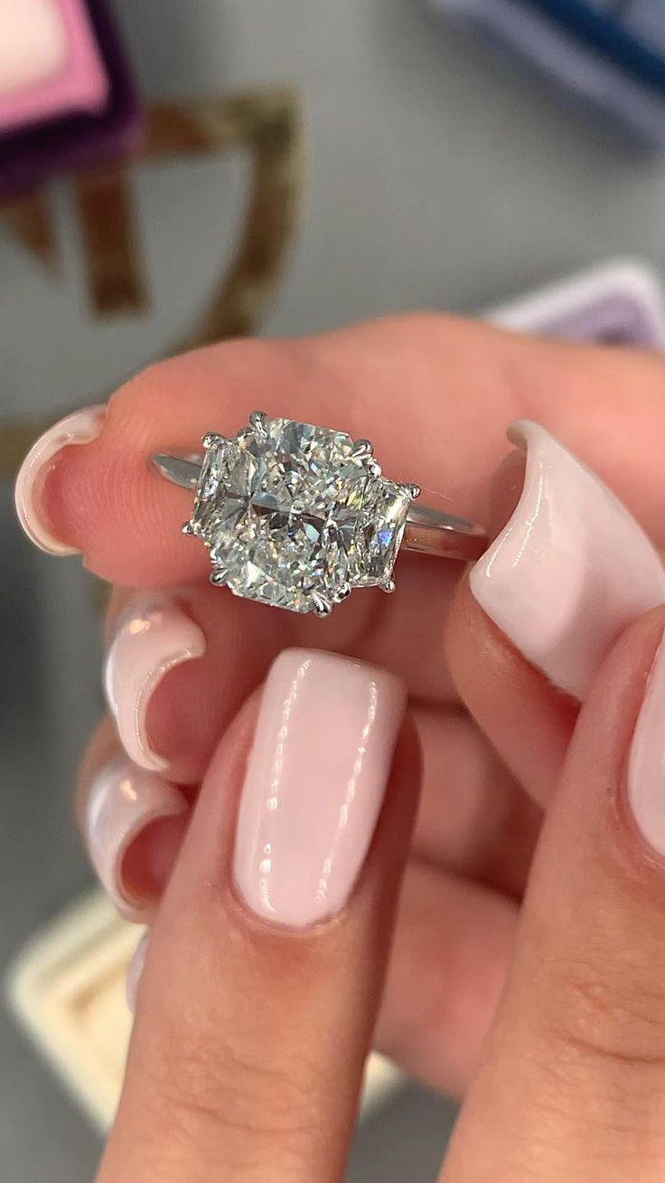 2 41 Carat Diamond Engagement Ring3 Stone Radiant Diamond Etsy In 2020 Stone Engagement Rings Engagement Rings Jewelry