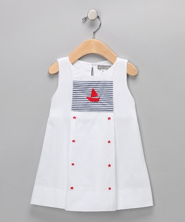 Take a look at this White Sailboat & Stars Dress - Infant & Toddler by Fourth of July Boutique on #zulily today!