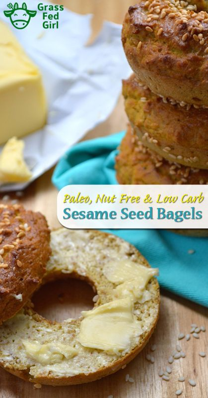 Low Carb Breakfast Bagels | https://www.grassfedgirl.com/low-carb-breakfast-bagels/