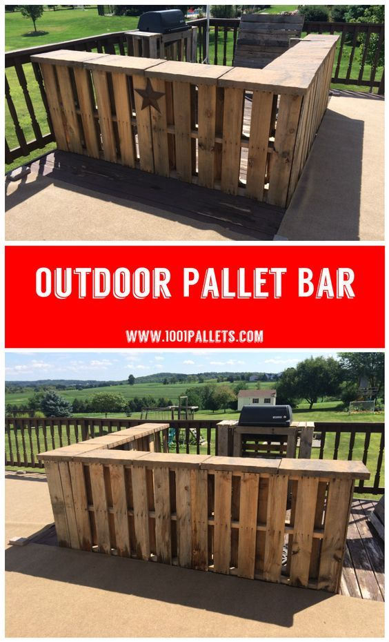 I used 8 pallets and patio pavers to create this bar on our deck.: