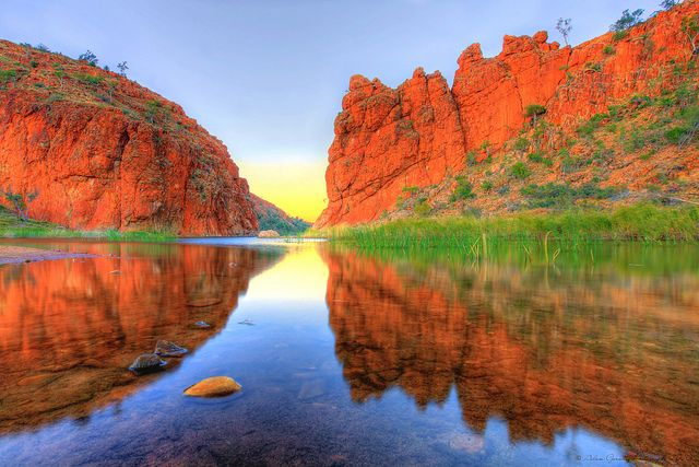Look at those colours; a photographer's paradise... Glen Helen Gorge in the West MacDonnell Ranges, Northern Territory.