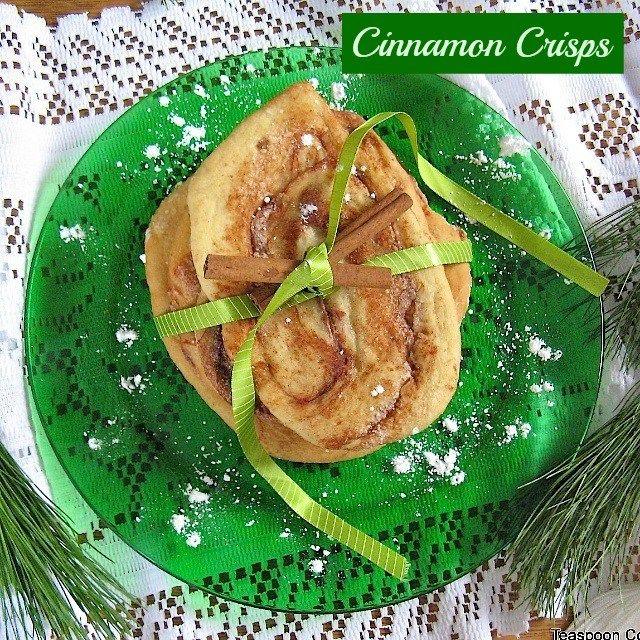 Easy cinnamon rolls flattened into a Christmas cookie! CINNAMON CRISPS   Recipe at: Teaspoonofspice.com