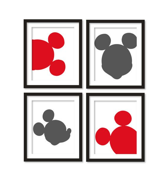 Kids artworks room decor mickey mouse silhouette by babiesartroom, $36.00