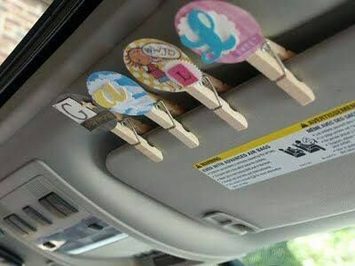 Stop screaming at your kids!!! Road trip clips: One clip for each kid.... If they are sweet, clip stays up, if they are not, clip comes down. Everyone with a clip on the visor gets a treat at the next stop smile emoticon love this idea!!!