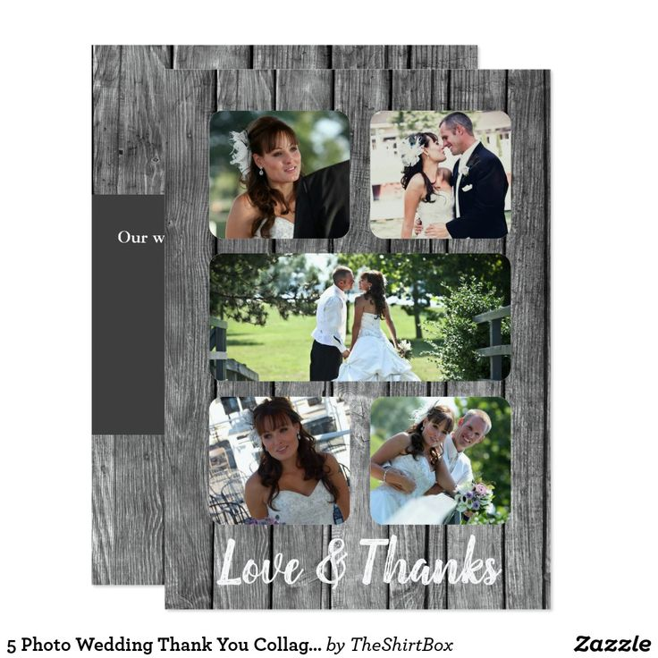 personalized wedding thank you notes%0A   Photo Wedding Thank You Collage Card
