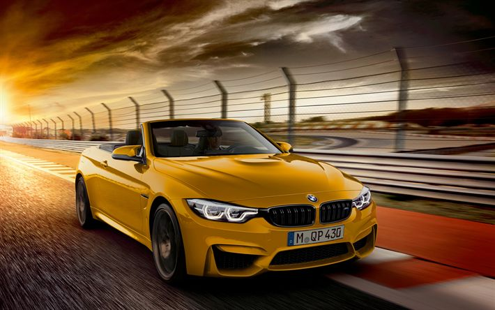 Download wallpapers BMW M4 Convertible, 4k, 2018 cars, moton blur, cabriolets, M4, BMW
