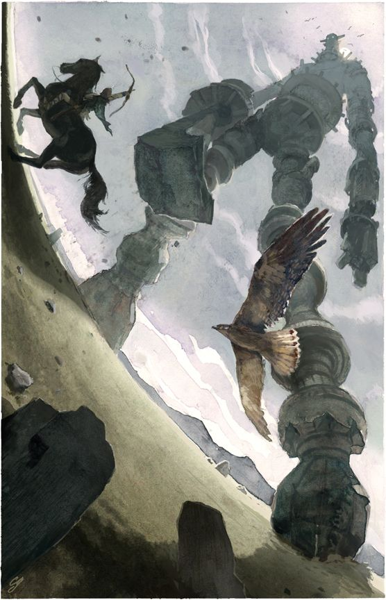 An illustration inspired by the classic video game, Shadow of the Colossus