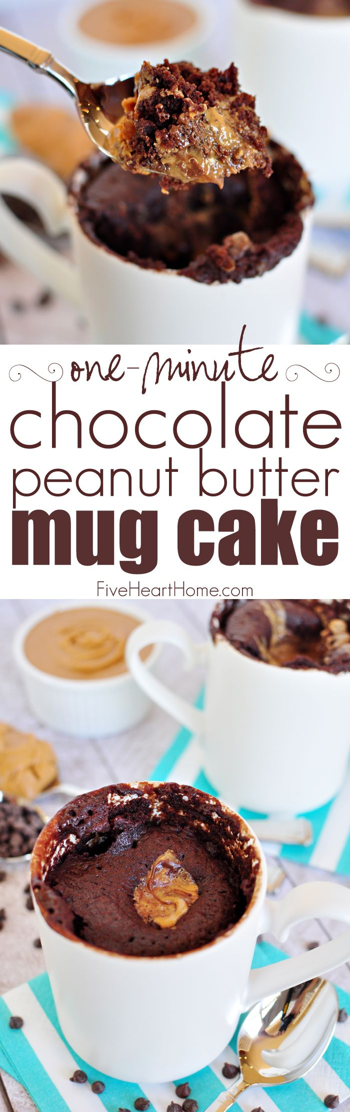 One-Minute Chocolate Peanut Butter Mug Cake ~ moist chocolate cake with a molten peanut butter center bakes up in a microwaved mug in just one minute!   FiveHeartHome.com