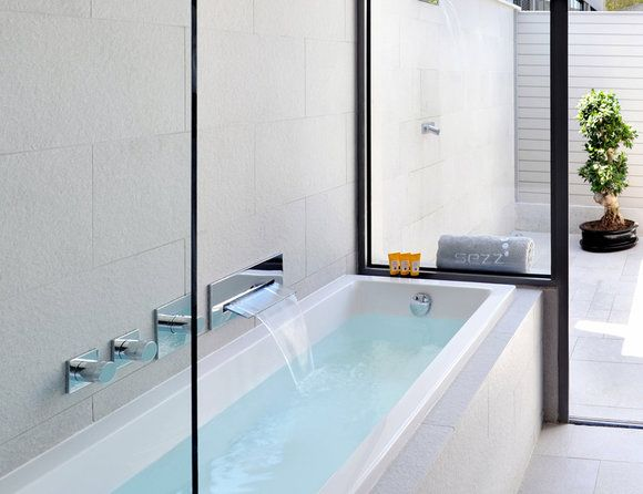 Best Hotel Bathrooms - Hotel on Rivington #tube with a view  - for more inspiration visit http://pinterest.com/franpestel/boards/