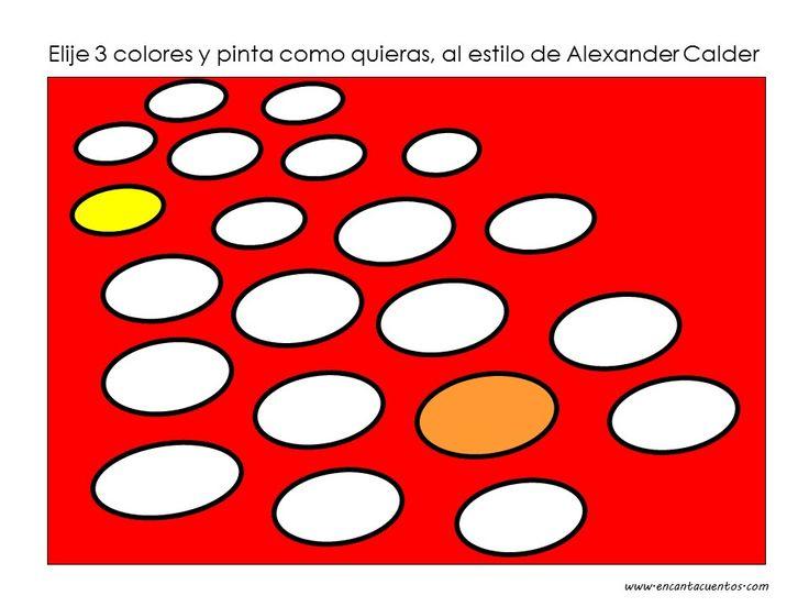Pinta con 3 colores como Alexander Calder. Descarga la lámina en blanco en www.encantacuentos.com