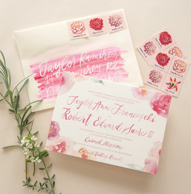 Pink Floral Watercolor Wedding Invitations