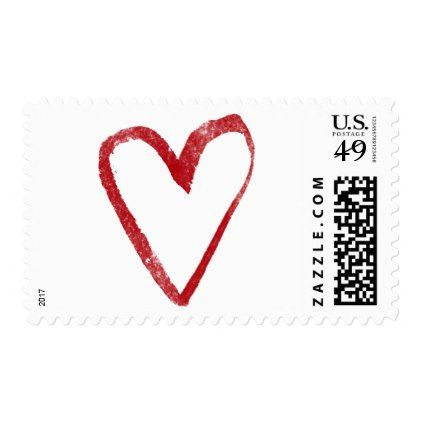 Red Watercolor Heart 8 Outline Valentine & Wedding Postage - valentines day gifts gift idea diy customize special couple love