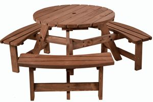 Sherwood 6 seater round picnic table