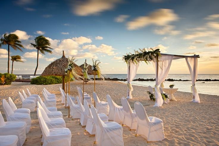 Wedding set up in at the Curacao Marriott Beach Resort.