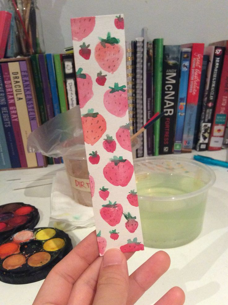 Strawberry Watercolour Bookmark