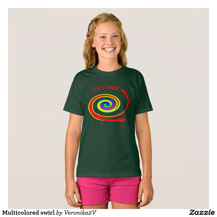Multicolored swirl T-Shirt, artwork, buy, sale, gift ideas, zazzle, shop, discount, name, multicolor, twirl, swirl, bright, red, yellow, green, blue, purple, rainbow, colorful, fun