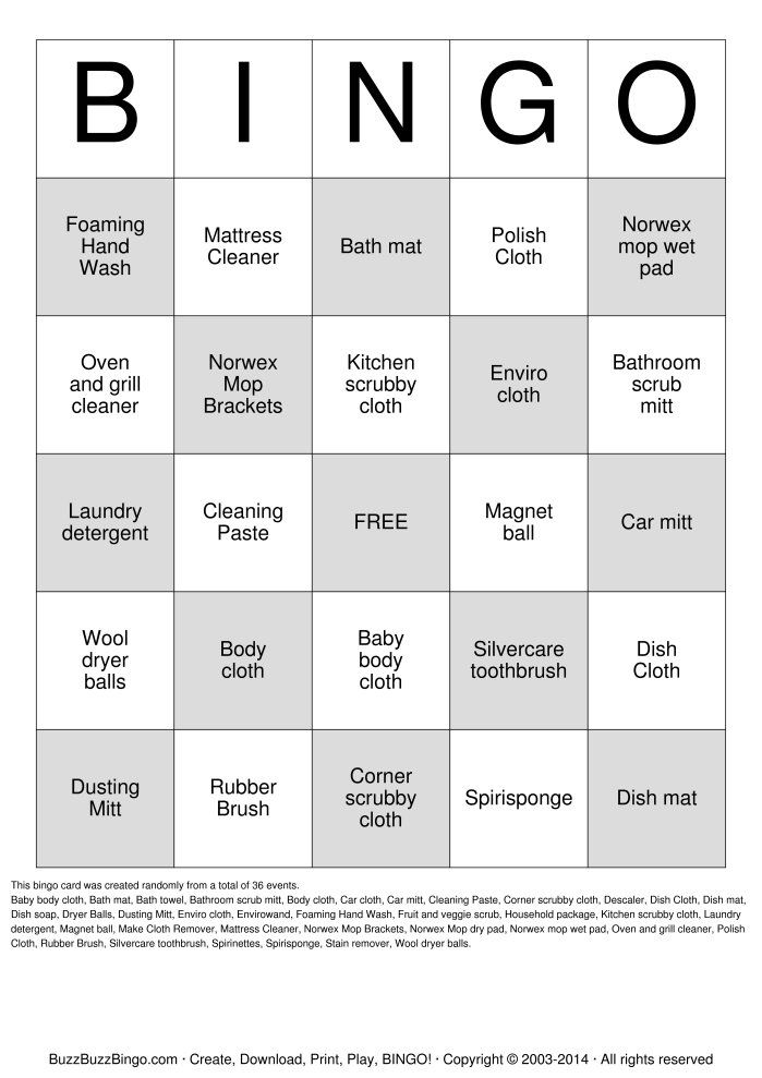 Randomly Generated NORWEX BINGO Bingo Card NORWEX BINGO