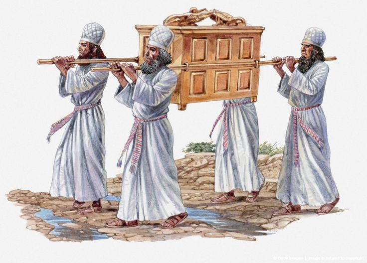 Illustration of four priests carrying the Ark of the Covenant and crossing the River Jordan