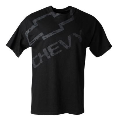 Distressed #Chevy Bowtie logo is screen printed on the front and neck of this heavyweight, 100% preshrunk cotton T-Shirt. Available in Black.