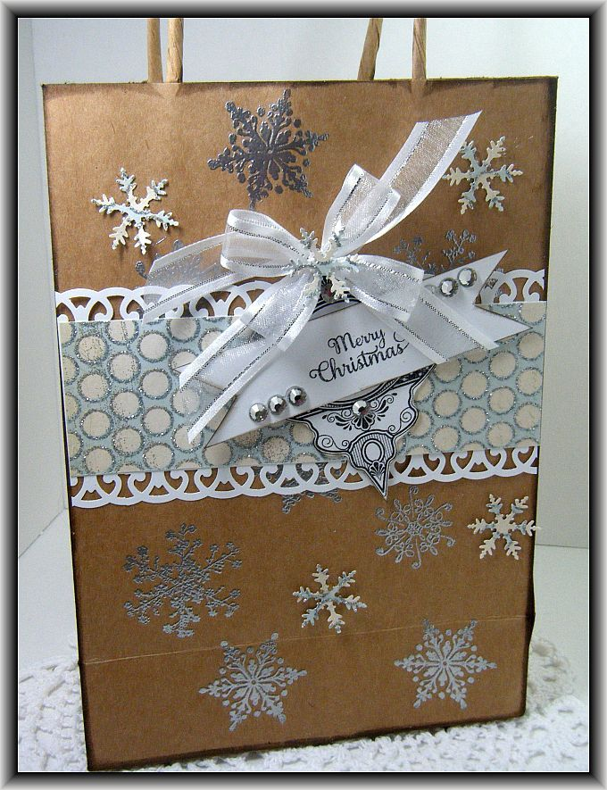 Gift Bag w/snowflakes (would change up the sentiment & do a rosette instead)