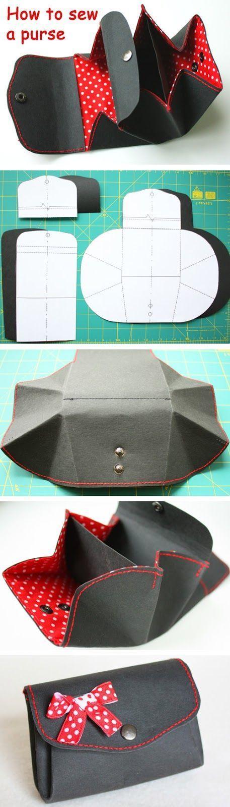 Anleitung für einen Geldbeutel aus Textil und Kraft-Tex mit Schittmuster http://www.handmadiya.com/2015/10/purse-kraft-tex-fabric-tutorial.html: