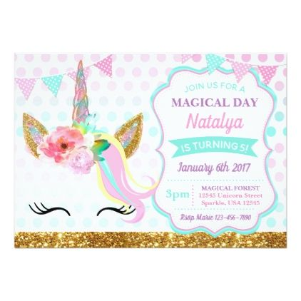 Unicorn Birthday Invitation Sparkle - birthday invitations diy customize personalize card party gift