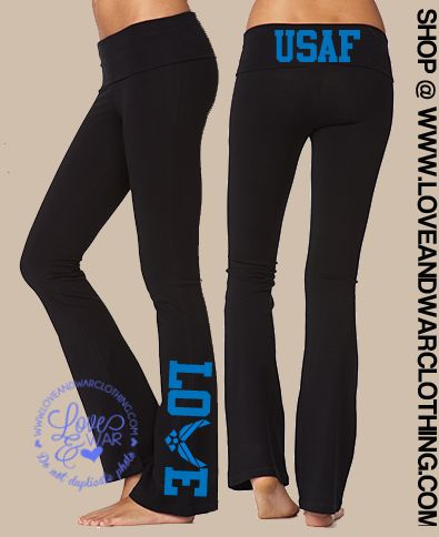 LOVEANDWARCLOTHING - USAF Love flared yoga pants, $34.95 (http://www.loveandwarclothing.com/usaf-love-flared-yoga-pants/)